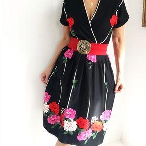 Vintage 60s Rizkallah Designer Floral Print Dress